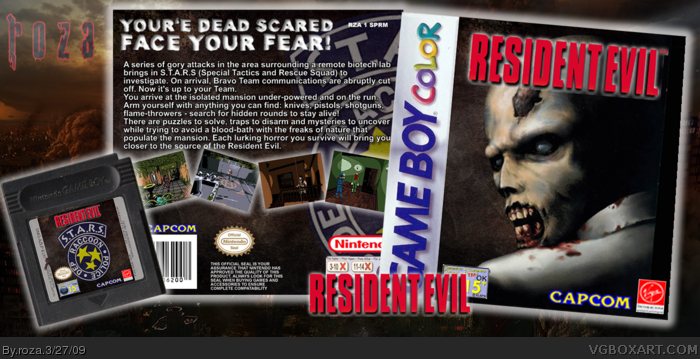 Resident Evil Game Boy Color Box Art Cover By Roza
