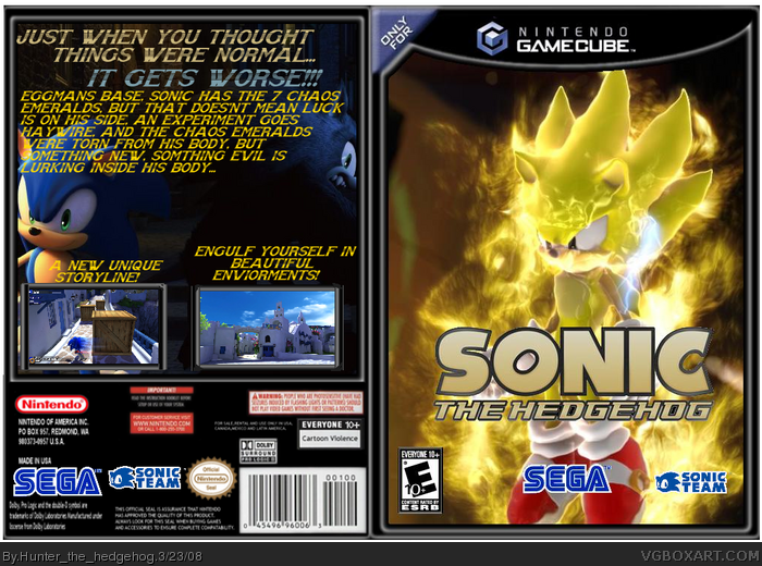 Sonic The Hedgehog Gamecube Box Art Cover By Hunter The Hedgehog