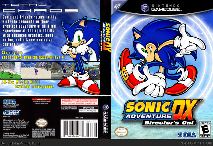 Sonic Adventure DX: Directors Cut GameCube Box Art Cover by