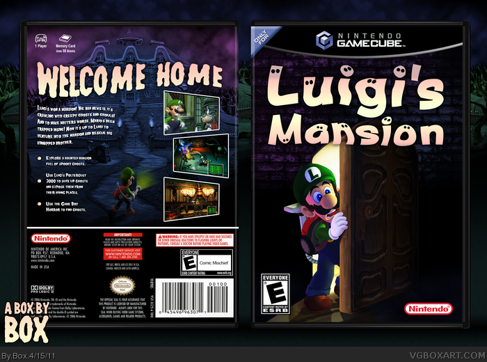Gamecube Box Art Luigi's Mansion Box Art Cover