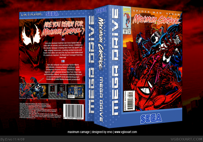 Spider Man And Venom Maximum Carnage Genesis Box Art Cover By Ervo