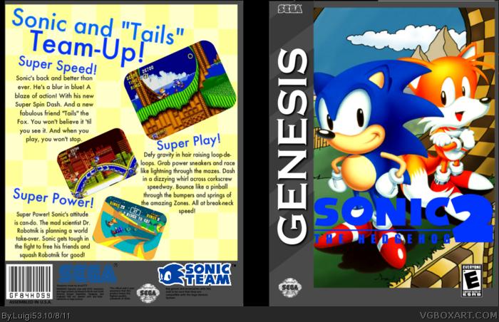Sonic The Hedgehog 2 Genesis Box Art Cover By Luigi53