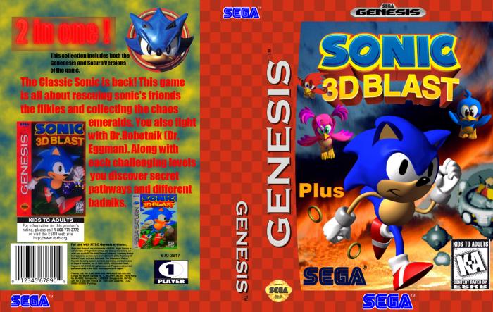 Sonic 3D Blast Plus Genesis Box Art Cover by familyguyxd23