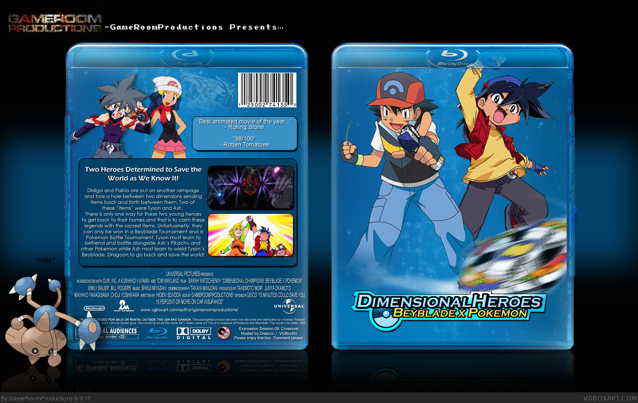 Dimensional Heroes Beyblade X Pokemon Movies Box Art Cover By Gameroomproductions