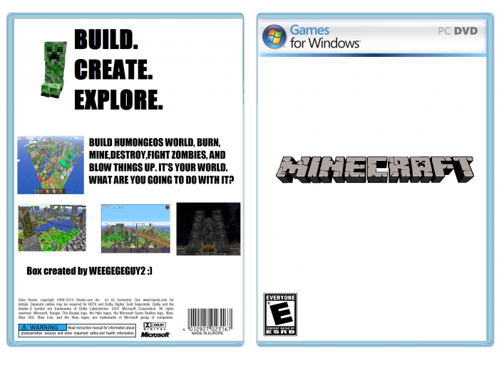 For Minecraft Pc Game Case : Minecraft the unofficial game pc box art cover by weegeguy