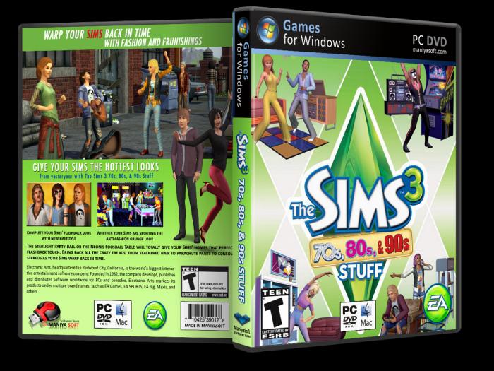 The Sims 3: 70s, 80s, & 90s PC Box Art Cover by payam_mazkouri