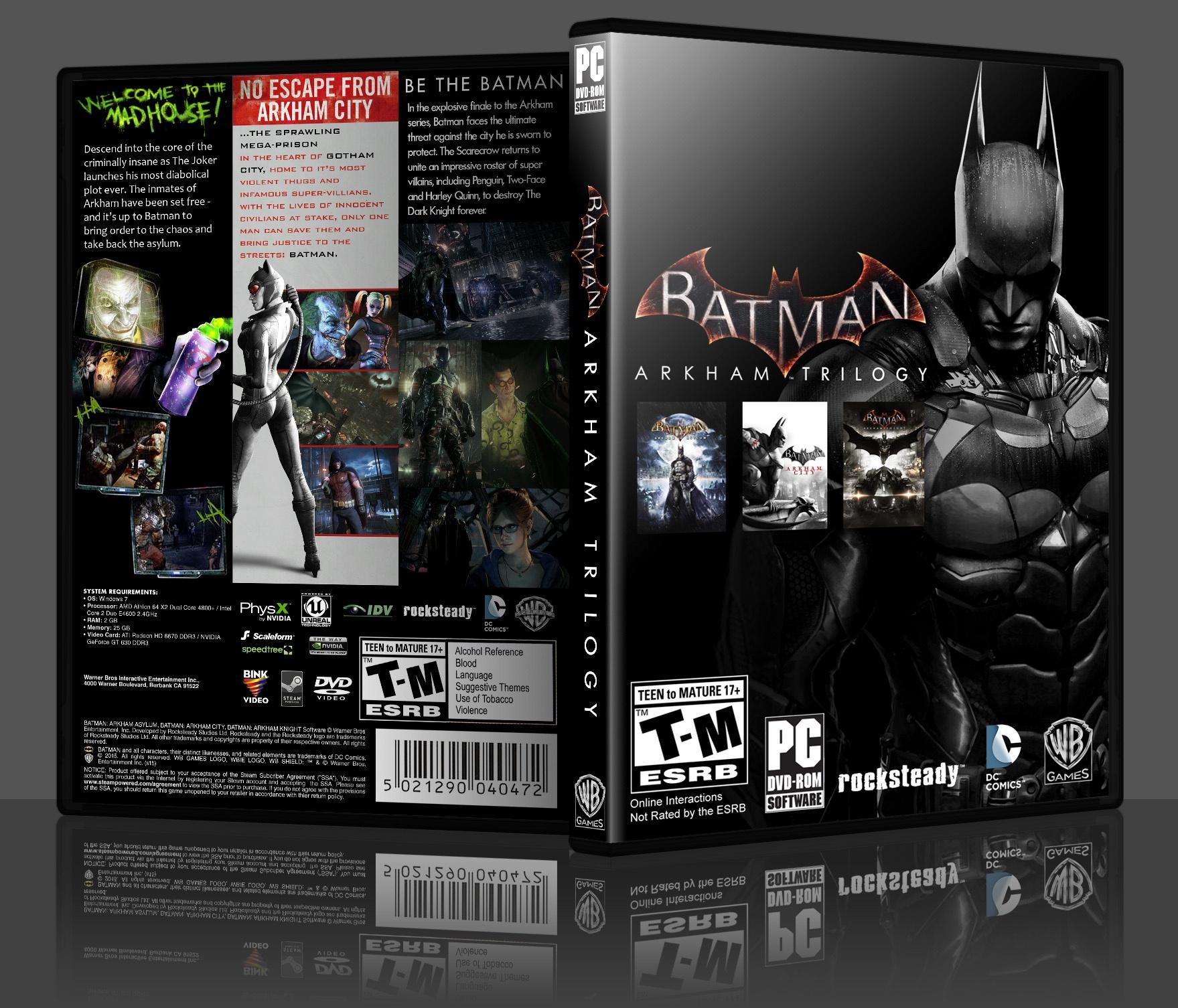 Batman Arkham Trilogy Pc Box Art Cover By Adam Salter