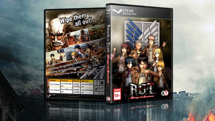 attack on titan wings of freedom PC Box Art Cover by Rudi