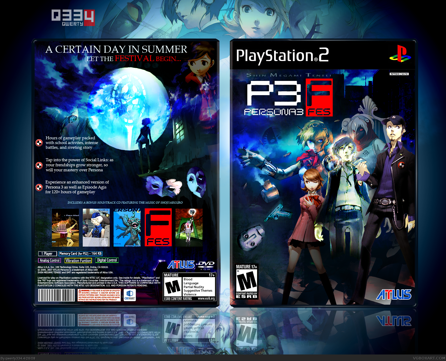Persona 3 Fes Playstation 2 Box Art Cover By Qwerty334