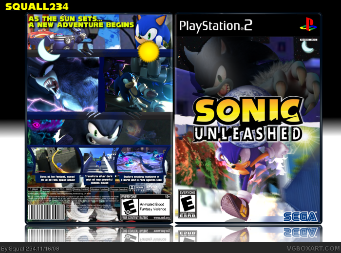 Sonic Unleashed PlayStation 2 Box Art Cover by Squall234 | 700 x 518 png 489kB
