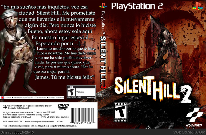 Silent Hill 2 Playstation 2 Box Art Cover By Mrbadguy