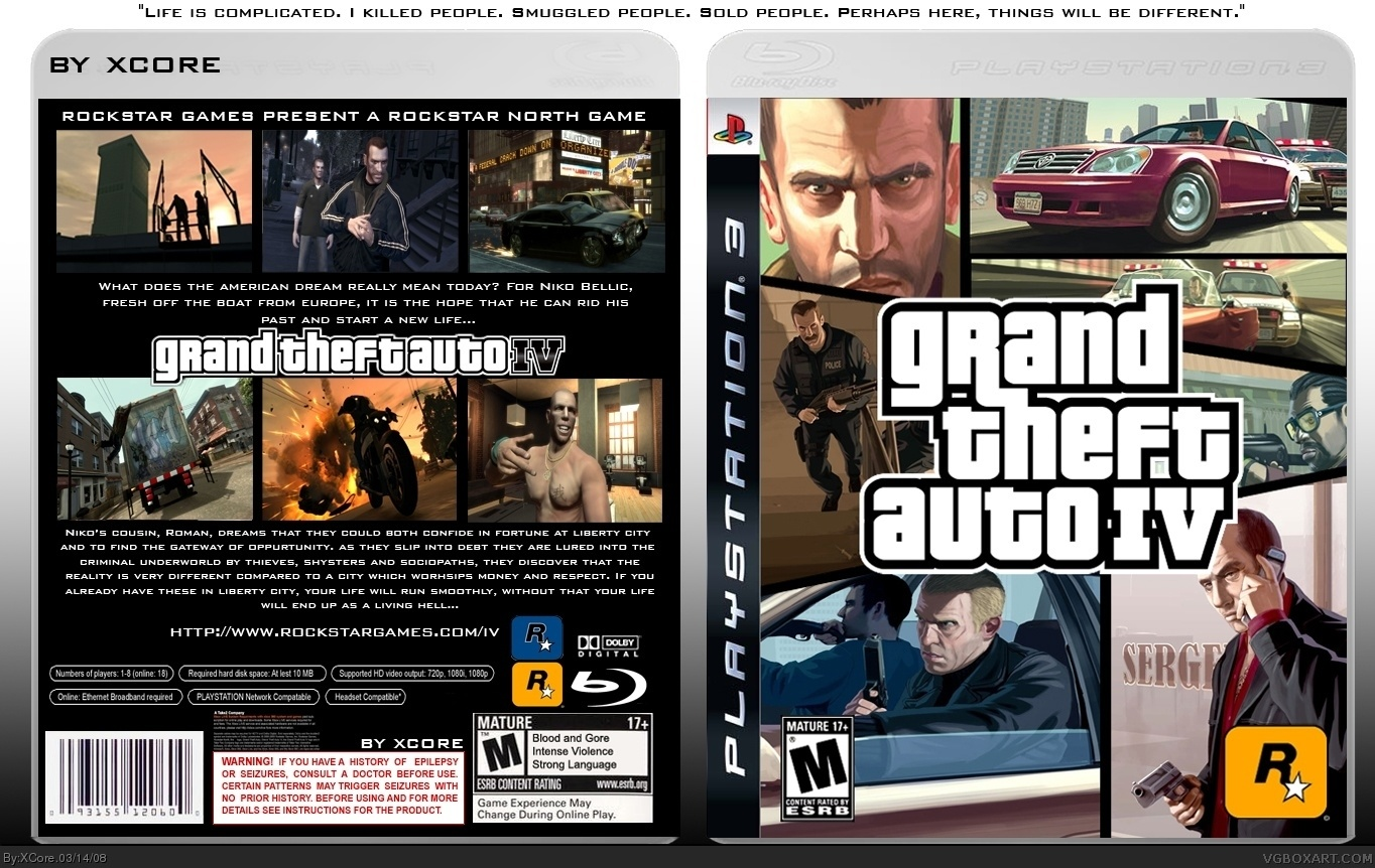 Grand theft auto iv playstation 3 box art cover by xcore for 4 box auto