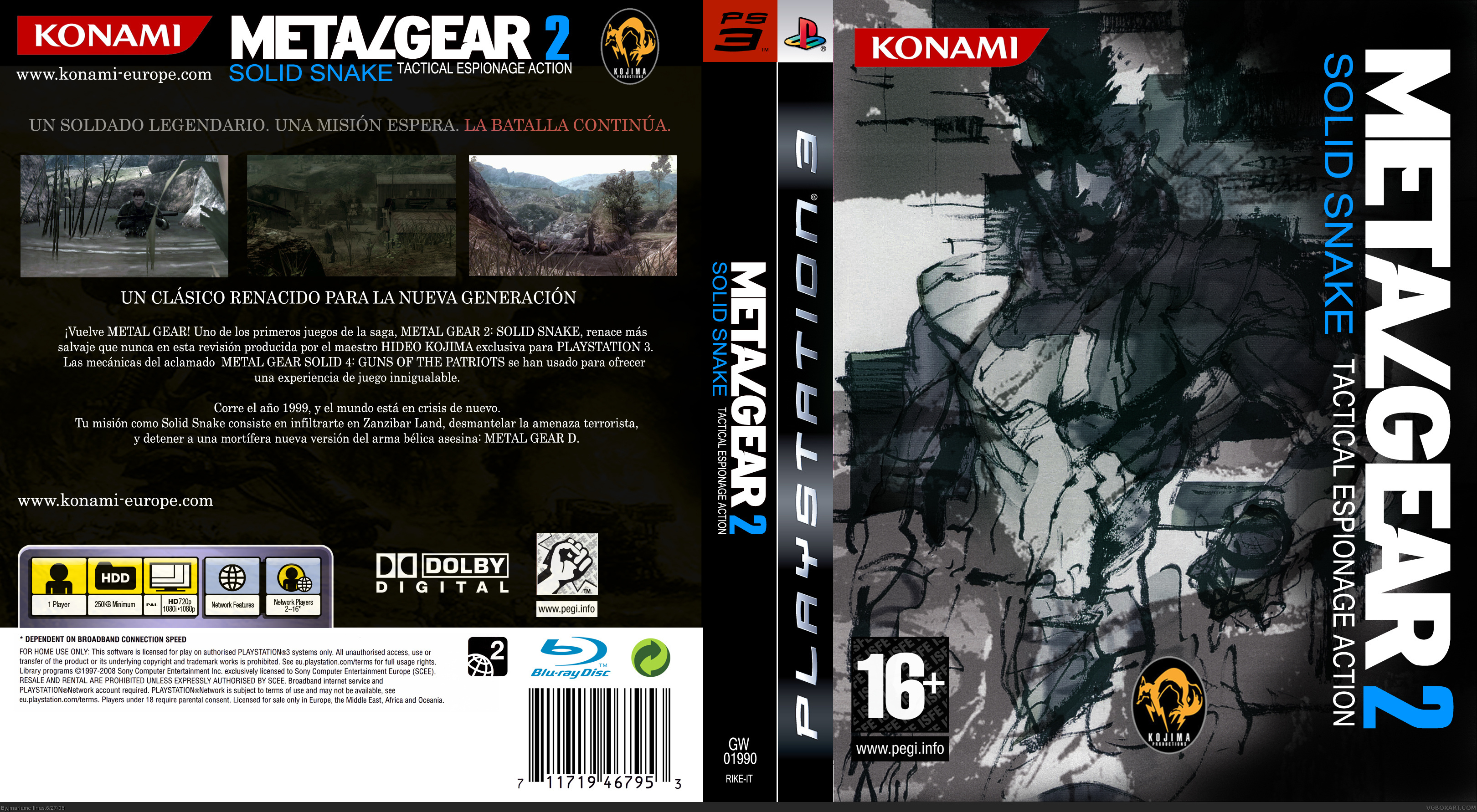 Metal Gear 2 Solid Snake Playstation 3 Box Art Cover By