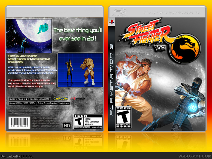Street Fighter Vs Mortal Kombat Playstation 3 Box Art Cover By Kaitoukid