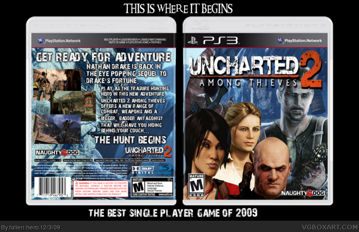 Uncharted 2 Among Thieves Playstation 3 Box Art Cover By Fallen Hero