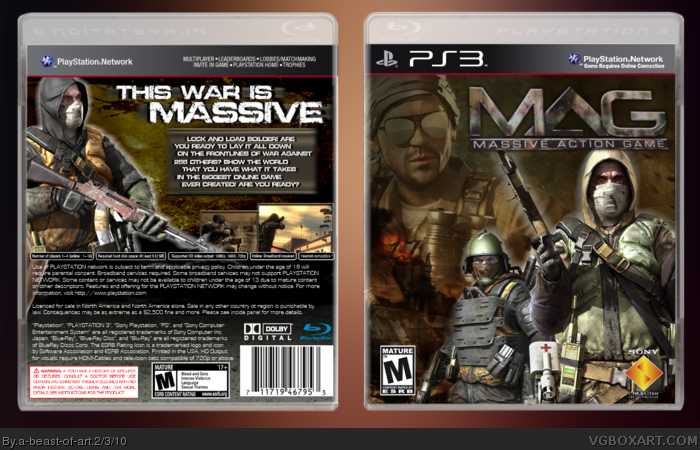 M A G Massive Action Game Playstation 3 Box Art Cover By A Beast Of Art