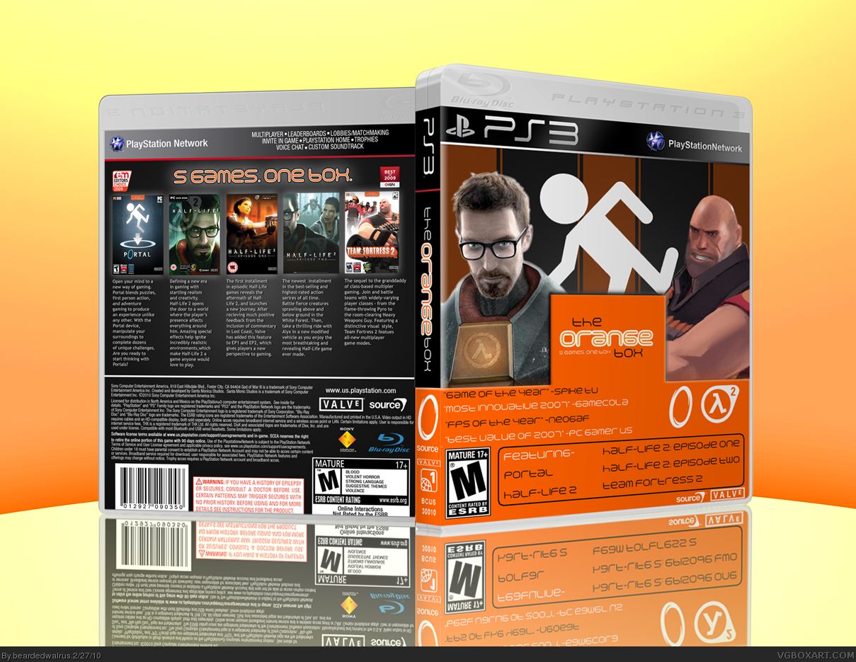 the orange box playstation 3 box art cover by beardedwalrus