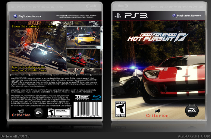 Need For Speed Hot Pursuit Playstation 3 Box Art Cover By Telekill