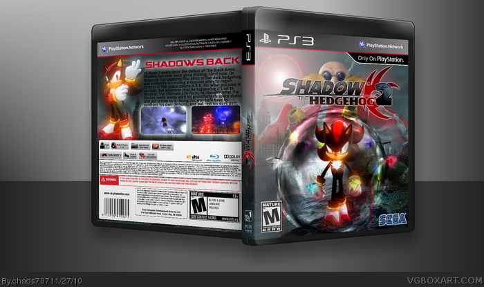 Shadow the Hedgehog 2 PlayStation 3 Box Art Cover by chaos707