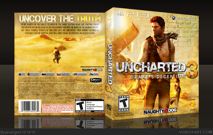Uncharted 3 Drake S Deception Playstation 3 Box Art Cover By Jevangod