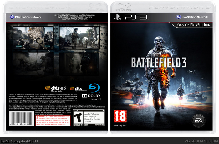 Battlefield 3 PlayStation 3 Box Art Cover by MsGangsta