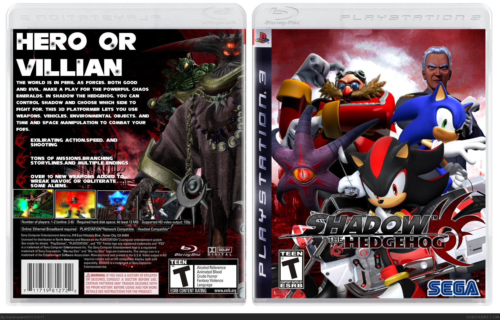 shadow the hedgehog playstation 3 box art cover by