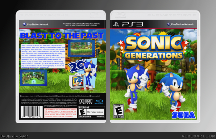 Sonic Generations PlayStation 3 Box Art Cover by Shodiw