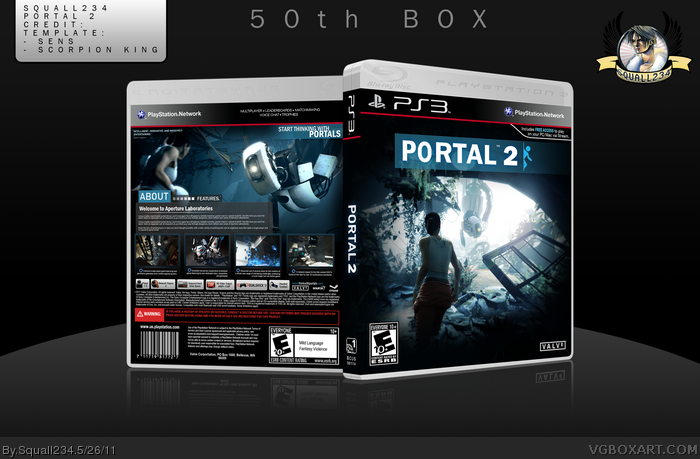 portal 2 playstation 3 box art cover by squall234. Black Bedroom Furniture Sets. Home Design Ideas