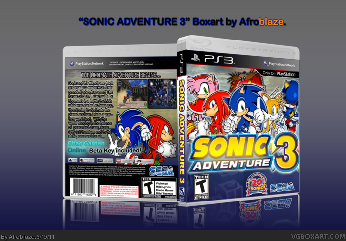 Sonic Adventure 3 PlayStation 3 Box Art Cover by Afroblaze