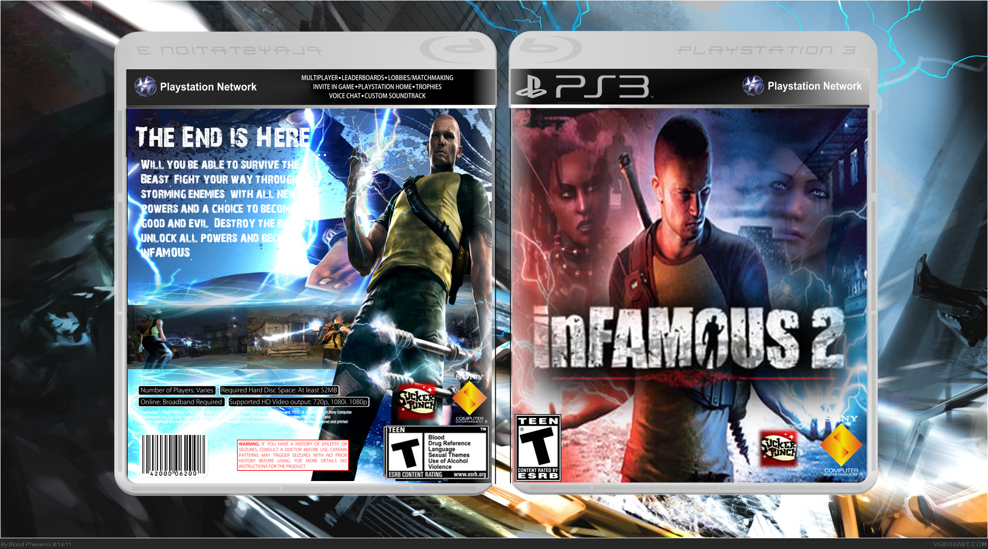 infamous 2 playstation 3 box art cover by blood pheoenix