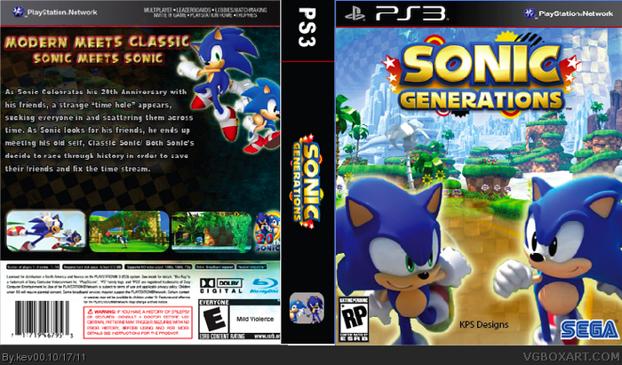 Sonic Generations PlayStation 3 Box Art Cover by kev00