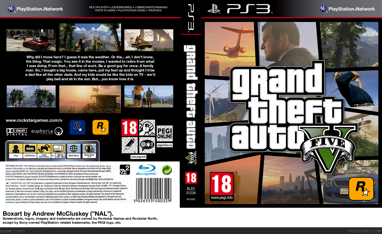 grand theft auto v playstation 3 box art cover by nal. Black Bedroom Furniture Sets. Home Design Ideas