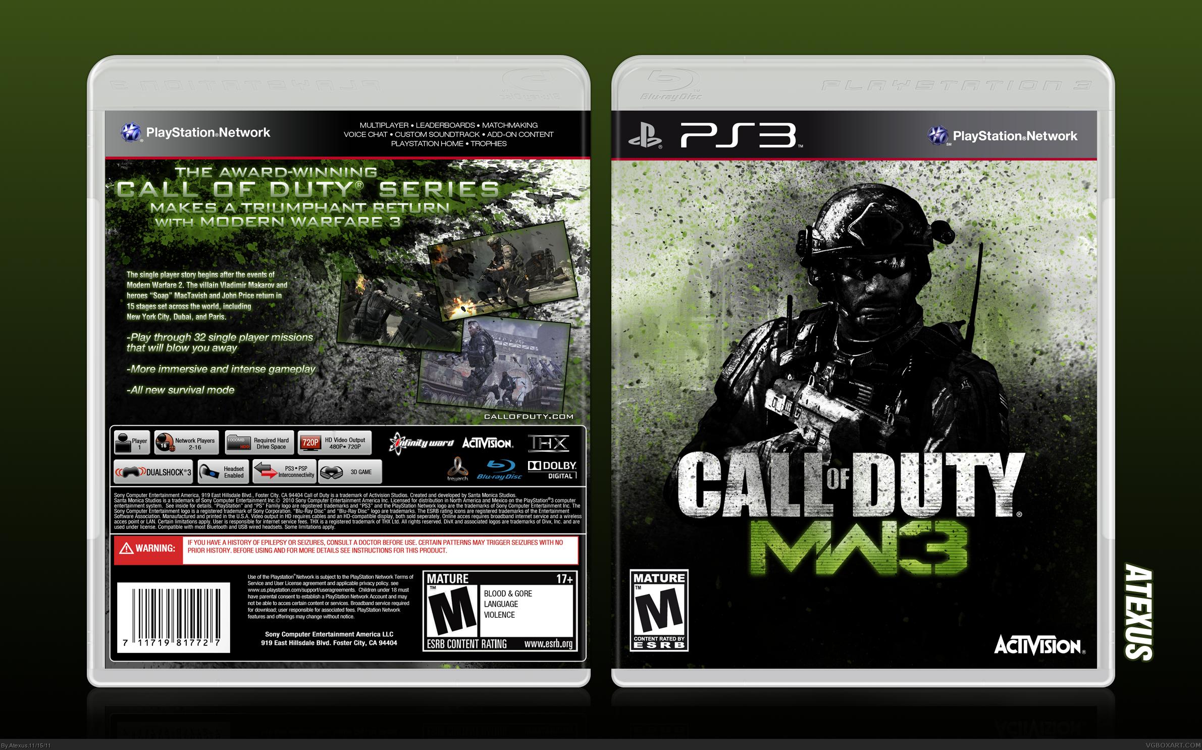 Call Of Duty Modern Warfare 3 Playstation 3 Box Art Cover By Atexus