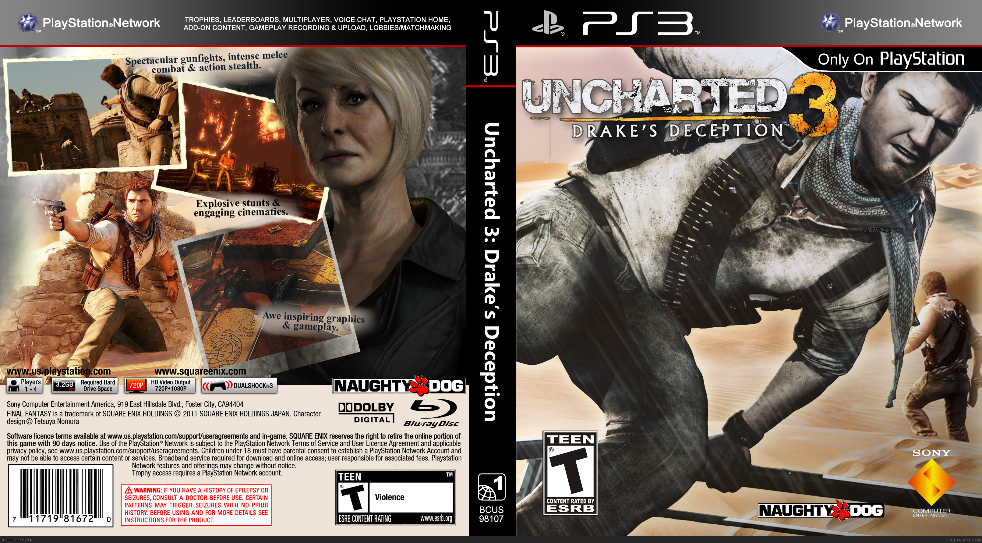 Uncharted 3 Drake S Deception Playstation 3 Box Art Cover By 0utcast