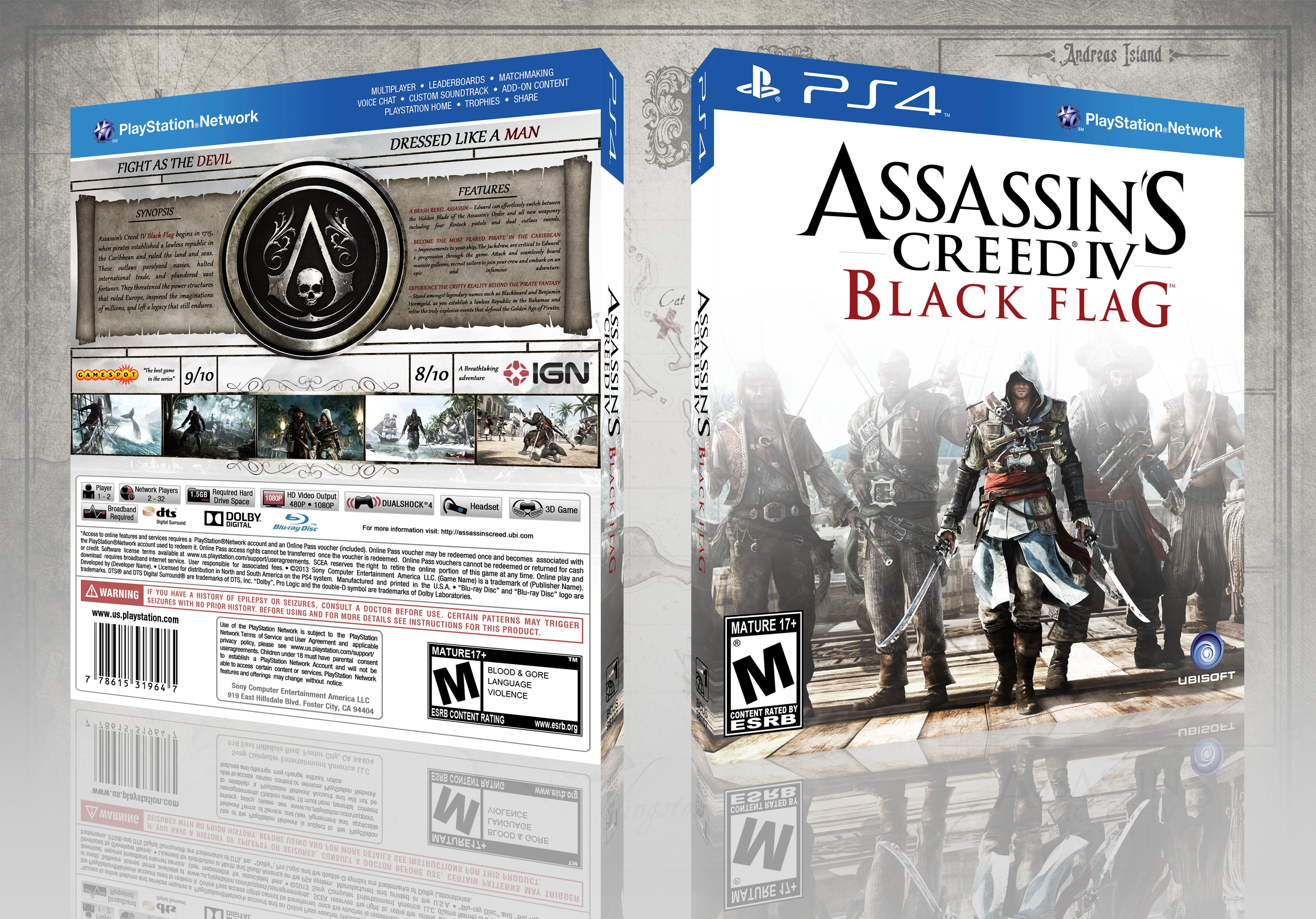 Assassin S Creed Iv Black Flag Playstation 4 Box Art Cover By