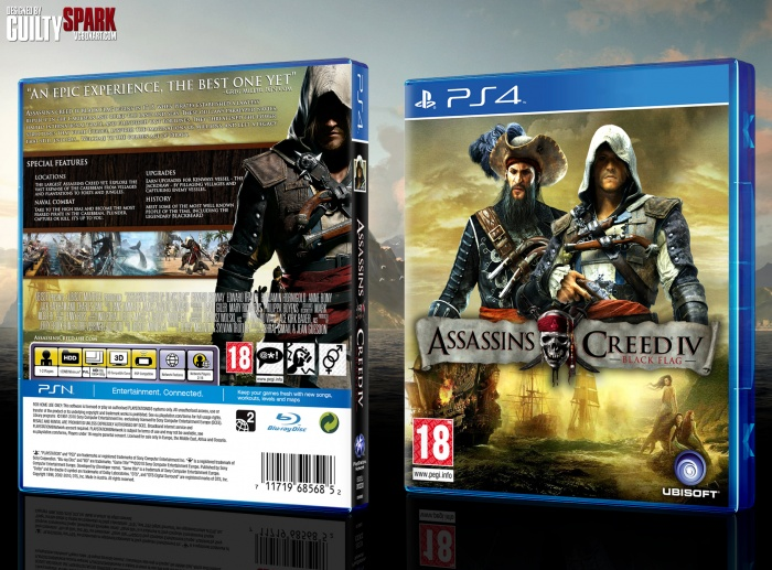 Assassins Creed Iv Black Flag Playstation 4 Box Art Cover By