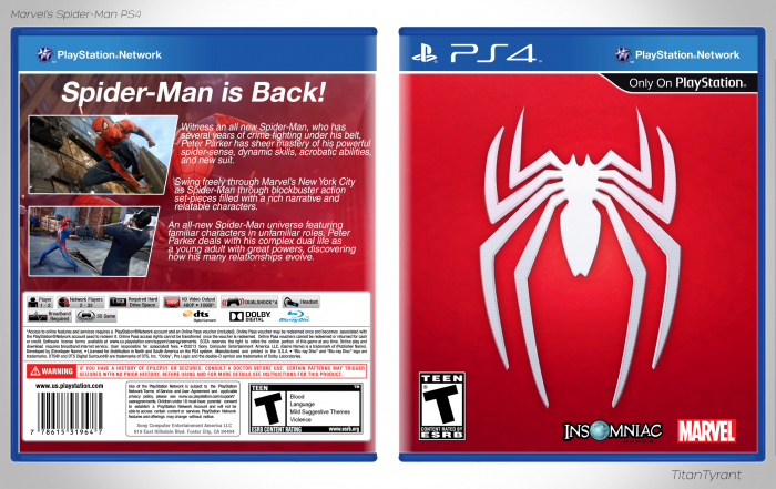 Spider Man Ps4 Box Art Playstation 4 Box Art Cover By