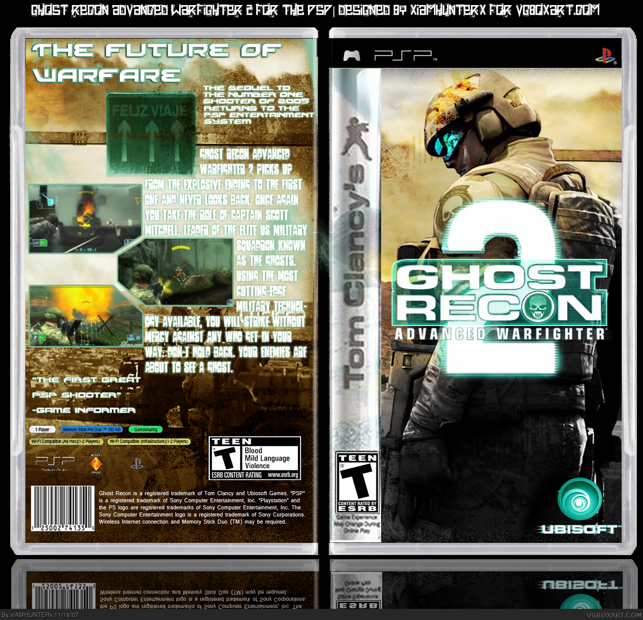 tom clancy u0026 39 s ghost recon  advanced warfighter 2 psp box