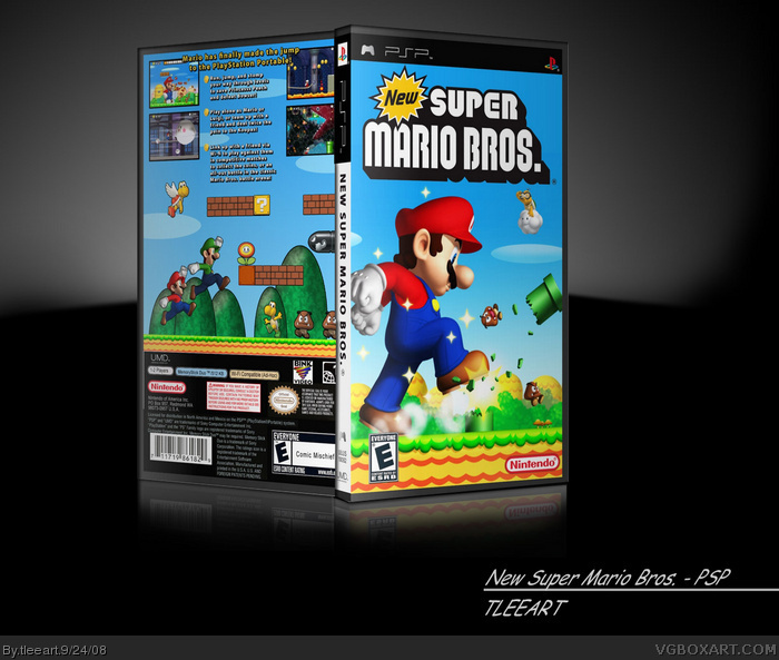 New Super Mario Bros  PSP Box Art Cover by tleeart