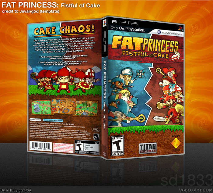 Fat Princess Fistful Of Cake Psp Box Art Cover By Sd1833