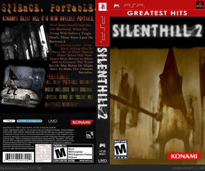 Silent Hill 2 Psp Box Art Cover By Biohazardbox7