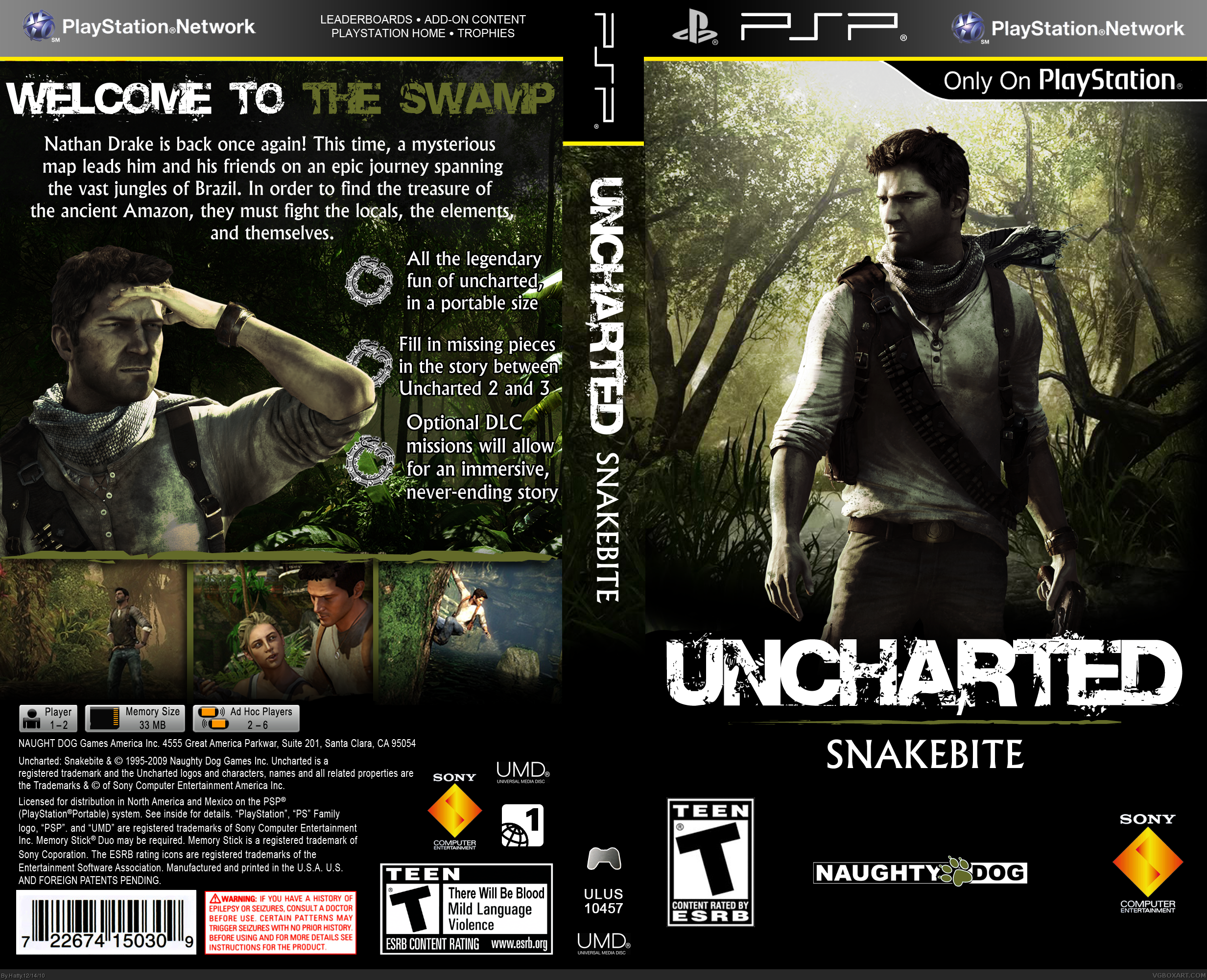 Uncharted Snakebite Psp Box Art Cover By Hatty
