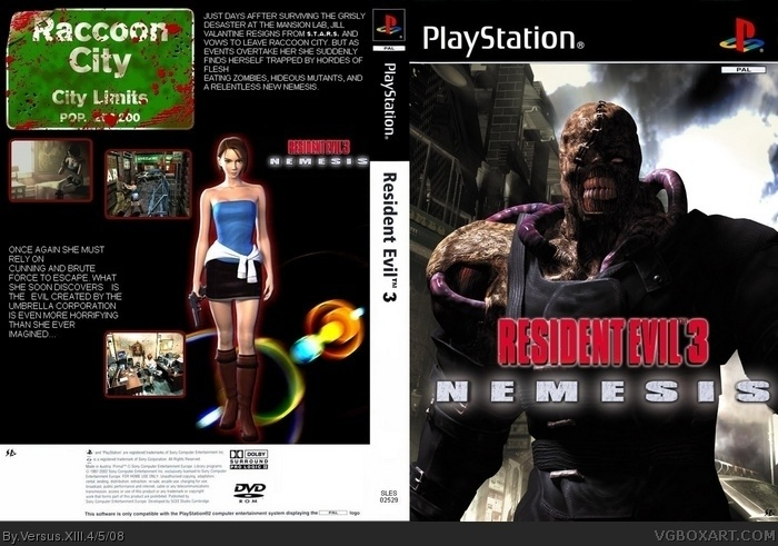 Resident Evil 3 Nemesis Playstation Box Art Cover By Versus Xiii