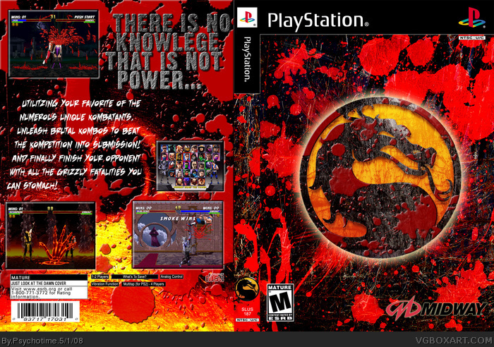 Mortal Kombat Trilogy PlayStation Box Art Cover by Psychotime