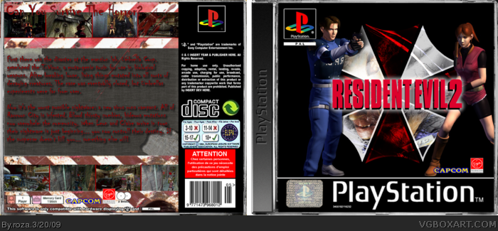 Resident Evil 2 PlayStation Box Art Cover by roza