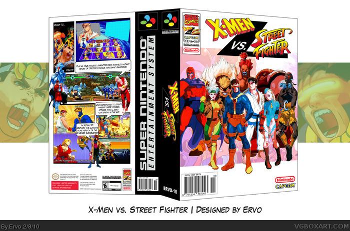 X Men Vs Street Fighter Snes Box Art Cover By Ervo