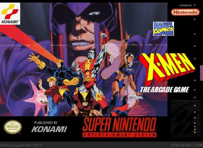 X-Men: The Arcade Game (Konami) SNES Box Art Cover by