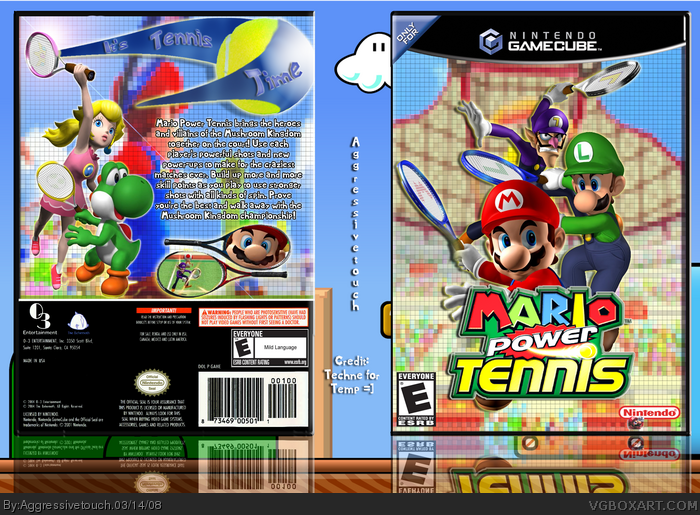 mario power tennis wii box art cover by aggressivetouch. Black Bedroom Furniture Sets. Home Design Ideas
