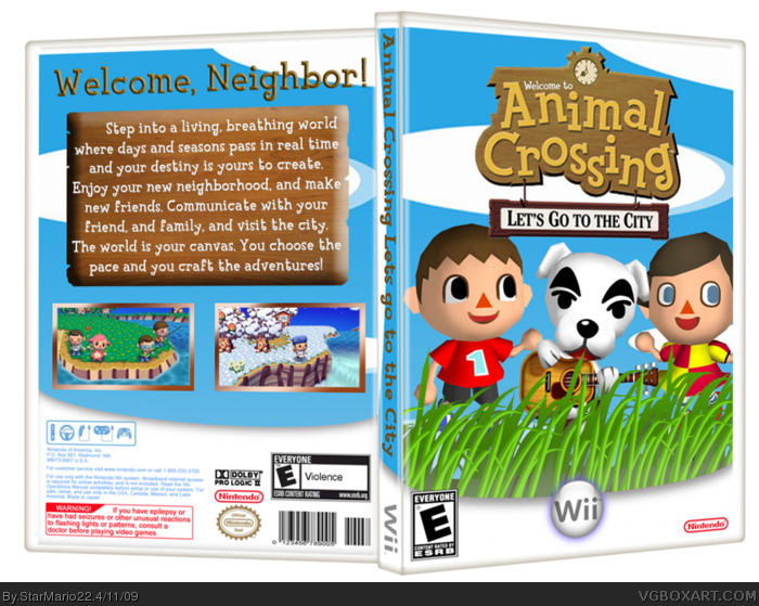 Animal Crossing: Let's Go To The City Wii Box Art Cover By