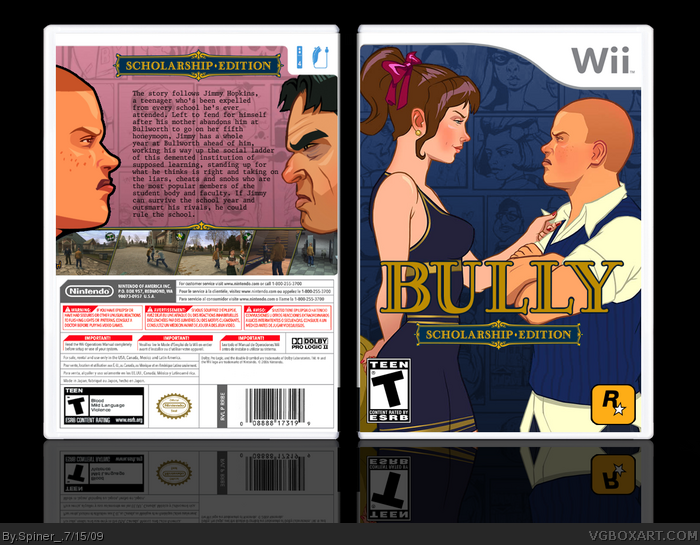 Bully: Scholarship Edition Wii Box Art Cover by Spiner_